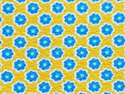 RESTSTÜCK 71 cm Jersey Mini Sonnenblumen gelb