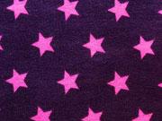 RESTSTÜCK 30 cm Jersey Sterne 1,5 cm pink auf lila