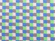 Jersey Quadrate - blau/grün/grau