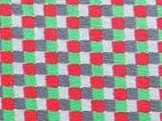 Jersey Quadrate - rot/grün/grau