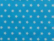 Jersey Sterne 0,9 cm-weiß auf türkis