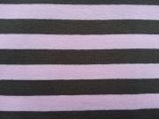 Streifenjersey 1cm breit- schokobraun & rosa