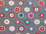 RESTSTÜCK 40 cm Jersey Sterne& Kreise Sterne Buttons, grau-rosa