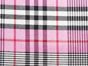 Viskose Stoff Blusenstoff kariert, rosa schwarz weiss