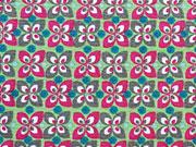 Baumwolle kleines Blumenmuster, hellgrün