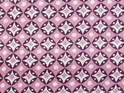 RESTSTÜCK 36 cm Baumwolle Grannys Tiles - altrosa/lila
