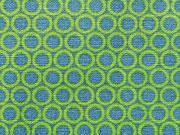 RESTSTÜCK 85 cm Baumwollstoff Kringel Punkte, hellgrün jeansblau