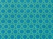 mint-farbene Kringel 0,6 cm/Punkte auf türkis