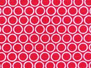 Baumwollstoff rosa Kringel Punkte, rot