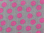 Lovel Grey - Kringelblumen pink auf grau