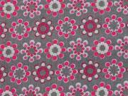 Lovely Grey Blumenmuster rot/hellgrau auf grau