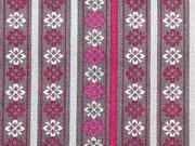 Baumwollstoff Bordüre & Streifen Lovely Grey, pink rot auf grau