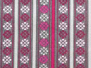 Lovely Grey  Bordüre & Streifen pink/rot auf grau