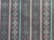 RESTSTÜCK 22 CM Baumwollstoff Bordüre & Streifen, dunkelmint auf grau