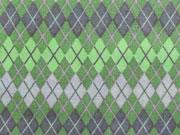 Baumwollstoff Rautenmuster,  limetten grün grau