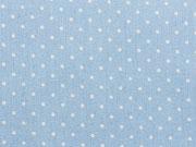 RESTSTÜCK 42 cm Leichter Jeansstoff Punkte 2 mm, hellblau