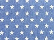 RESTSTÜCK 101 cm Jeansstoff Sterne jeansblau