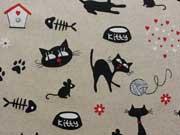Leinenlook Katzen - natur/schwarz