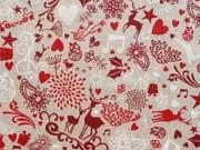 RESTSTÜCK 43 cm Leinenlook Sterne & weihn. Motive, natur rot
