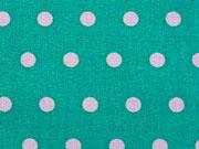 beschichtete Baumwolle Punkte 6mm, weiß auf mint