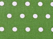 RESTSTÜCK 40 cm beschichtete BW weisse Punkte 6mm auf grasgrün