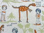 Lillestoff Bio-jersey Dinotraum, meliert