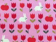 Lillestoff Biojersey Frühlingshasen, rosa