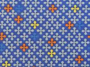 Jerseystoff Kreuzblume, orange royalblau