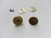 4 Magnetknöpfe rund 13 mm  für Taschen, matt gold