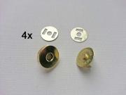 4 Magnetknöpfe rund 18 mm für Taschen,  goldfarben matt