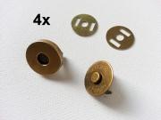 4 Magnetknöpfe rund 18 mm für Taschen, messing