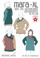 Schnittmuster XL Shirt mit Wickelkragen Mara Farbenmix
