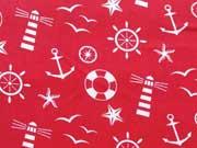 Baumwolle Leuchtturm Möwen Maritime Motive, weiss auf rot