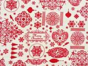 Baumwollstoff weihnachtliche Motive, rot auf cremeweiß