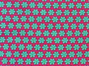 Popelin Mini Rädchen, türkis auf pink