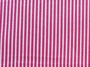 Baumwollstoff Streifen schmal, pink weiß
