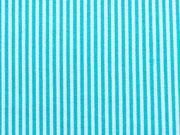 RESTSTÜCK 17 cm Baumwollstoff schmale Streifen, türkis weiß
