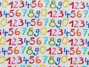 Baumwolle mit bunten Zahlen, weiß