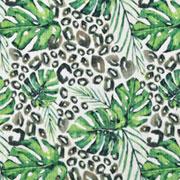 Musselin Baumwollstoff tropische Blätter, grün ecrue