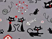 Dekostoff bedruckt Katzen, grau/schwarz