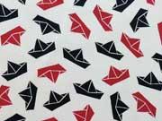 Baumwolle Papierschiffchen Segelboote, blau/rot auf weiß