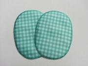 Flicken oval, 12 x 9  cm, Vichy-Karo, mint