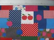 Patchwork Look - Äpfel-Sterne-Streifen -rot/blau
