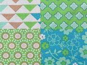 Baumwolle Patchwork Look -Mustermix- hellgrün,türkis,braun