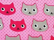 RESTSTÜCK 32 cm Baumwollstoff Katzengesichter Punkte, taupe pink rosa