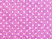 RESTSTÜCK 72 cm Jersey Punkte 2mm - rosa auf pflaume