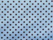 Baumwollstoff Punkte 2mm, braun auf hellblau
