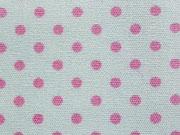 beschichtete Baumwolle Punkte 2mm, rosa auf weiß