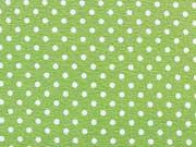RESTSTÜCK 47 cm Jersey Punkte 2mm - weiss auf hellgrün