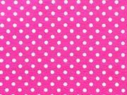 RESTSTÜCK 35 cm Jersey Punkte 2mm - weiß auf pink